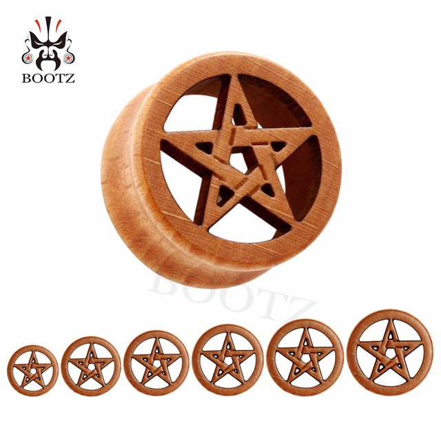 new fashion piercing body jewelry star logo wood plugs flesh ear tunnels 10 25mm