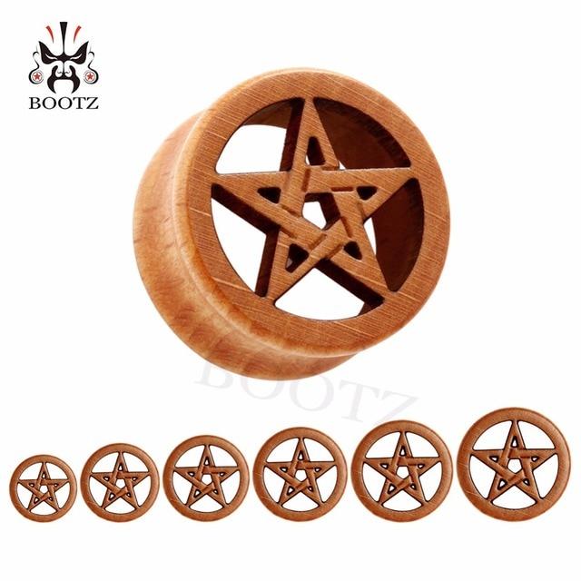 new fashion piercing body jewelry star logo wood plugs flesh ear tunnels 10 25mm