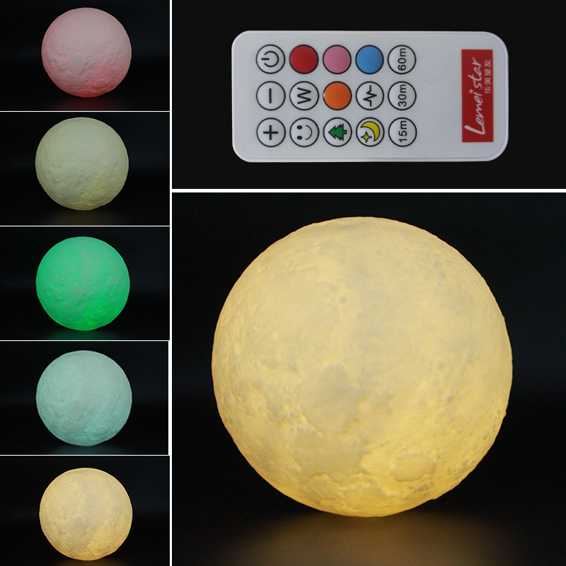 15cm Remote Control Rechargeable Moon Lamp 2 Color Change Bedroom Bookcase Night Light Home Decor Antistress Christmas Gift remote control moon wall lamp