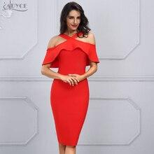 Adyce Women Bandage Dress Vestidos 2018 New Celebrity Party Dress Red Black White Ruffles Dress Patchwork Off the Shoulder Dress