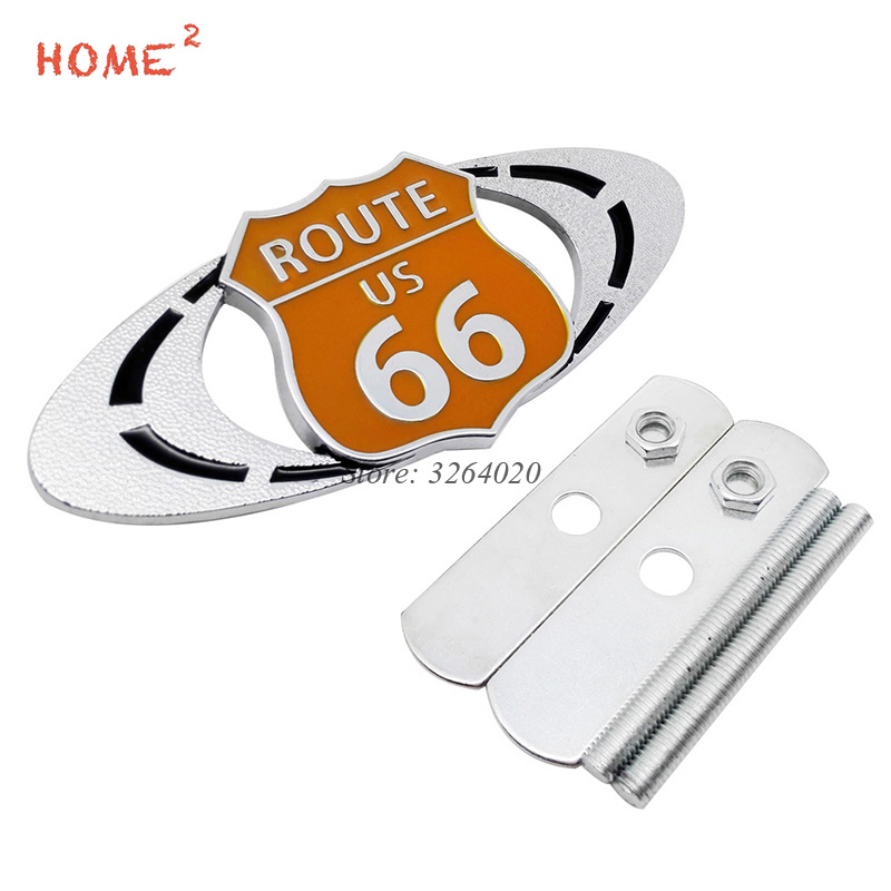 For ROUTE 66 Logo 3D Car Front Stickers Metal Grille Emblem Badge for Cadillac escalade srx cts ats bls xts Auto Accessories