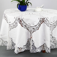 QUNYINGXIU 100% Cotton Table Cloth Handmade Flora Europe Round Table Cover Thin Soft Banquet Tabelcloth 54*54 inch = 137*137 cm