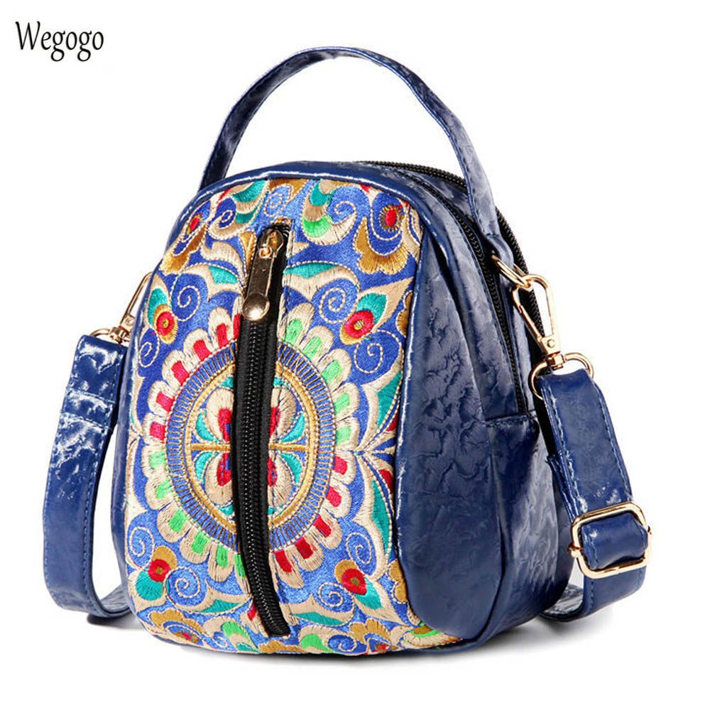 New Women Messenger Bags Boho Embroidery Totes Small Messenger Bag Chain Shoulder Small Embroidered PU Leather Travel Beach Bag кошелек small beach