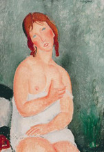 mujer con camisa Woman with shirt Amedeo Modigliani art online for sale High quality oil on canvas Nude woman painting Handmade