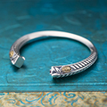 New Arrival classic 925 Sterling Silver  leaf  Bangle Charm Adjustable Opening Chunky Cuff Bracelets For men Women  Gifts