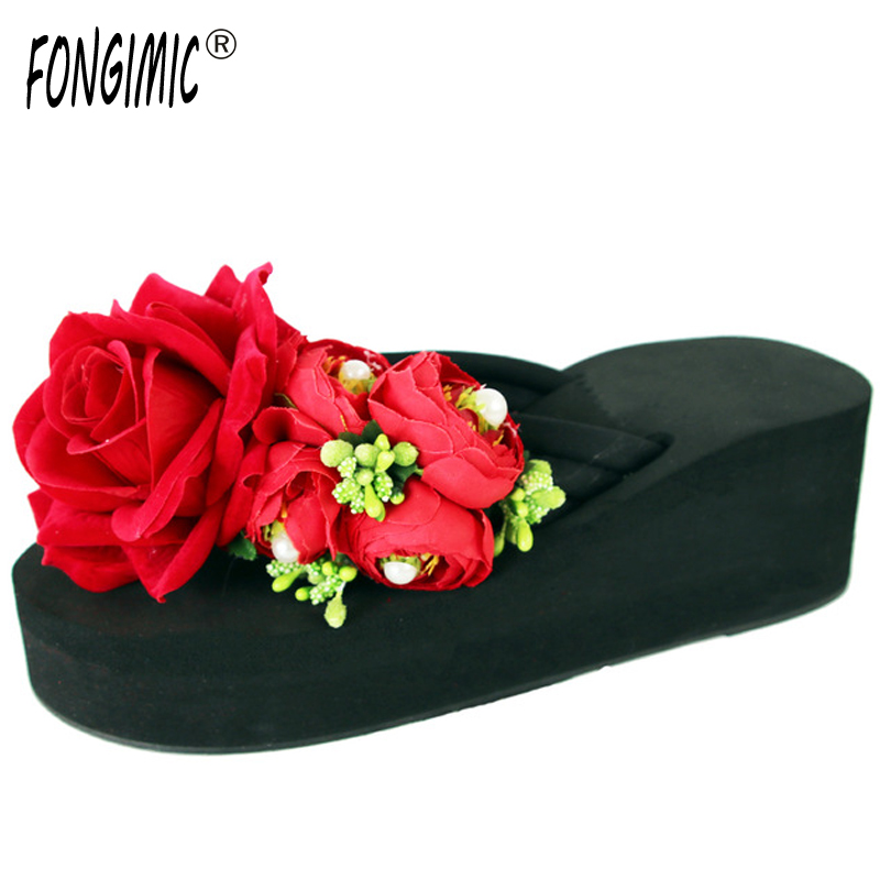 New summer time fashion women handmade Flower thick bottom flip flops  casual comfortable wedges beach holiday slippers hot sale new time new time ci g1286