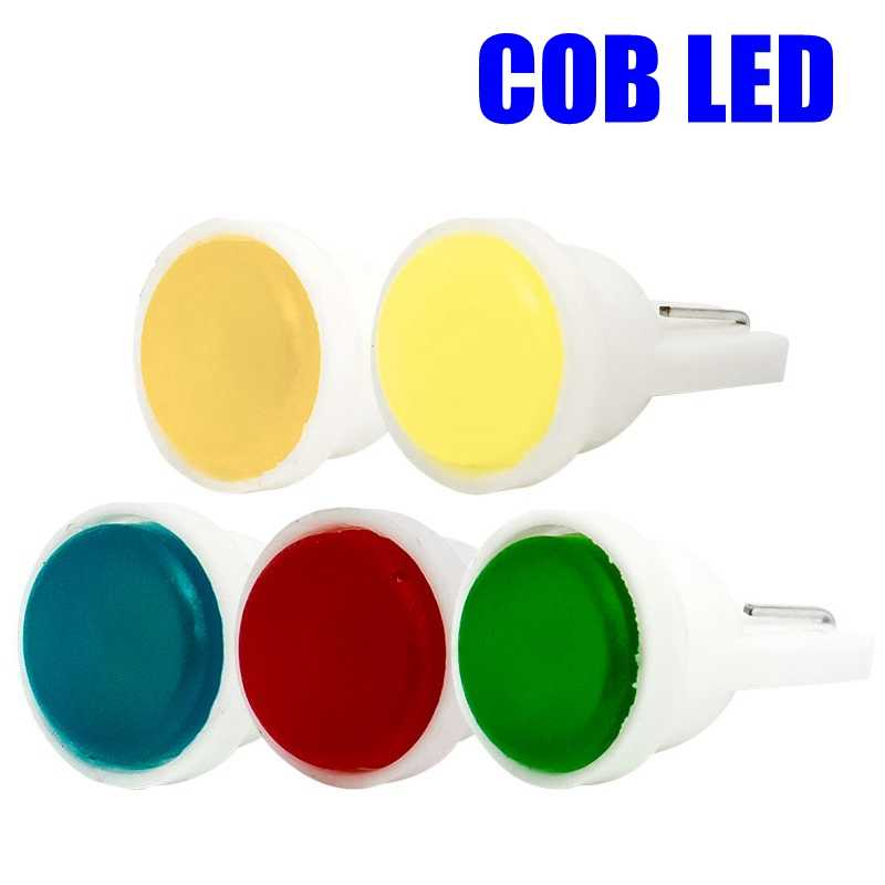 T10 W5W WY5W Ceramic COB LED Car Wedge Interior Light Source Instrument Side Bulb License Plate Lamp White Blue Green Red Yellow