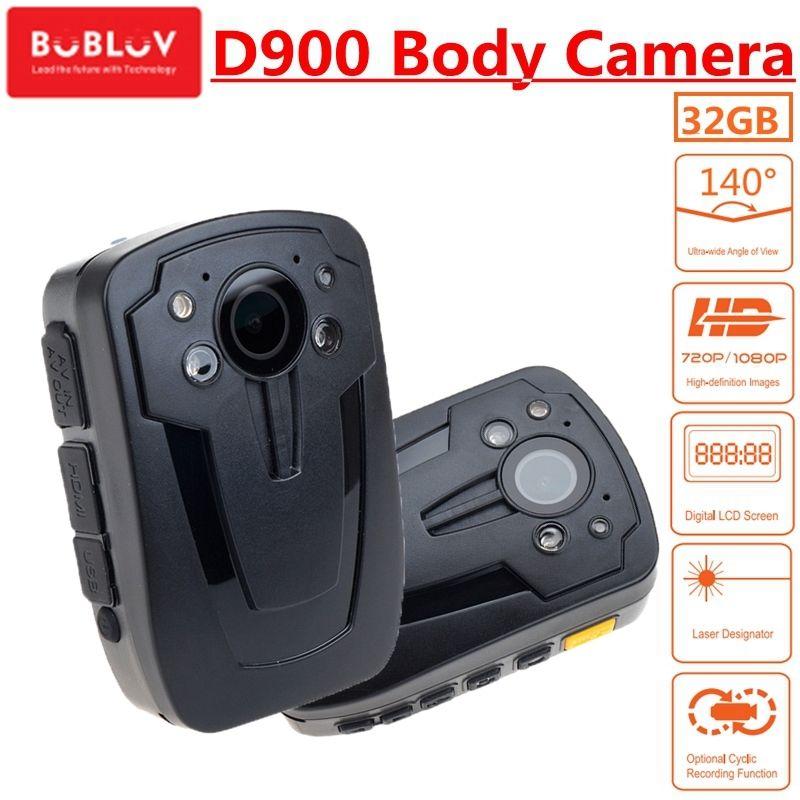BOBLOV Body Worn Camera D900 Novatek 96650 32GB HD1080P Mini Camcorder Wearable Cam Police IR Night