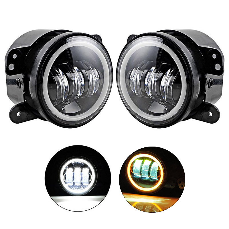 2pcs 4inch Round Fog Lamps For Jeep Wrangler JK TJ LJ LED Fog Light 30W with Halo White DRL + Amber Turn Signal on sale 2pcs auto accessories 6500k 4inch 30w led fog lamp light fits for jeep wrangler jk 2007 2015