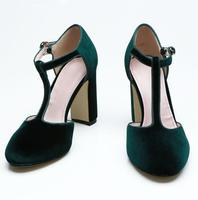 Deep Green Shoes Woman Heels Women Thick Heels Suede Women Shoes Pointed Toe Pumps 2018 Zapatos Mujer