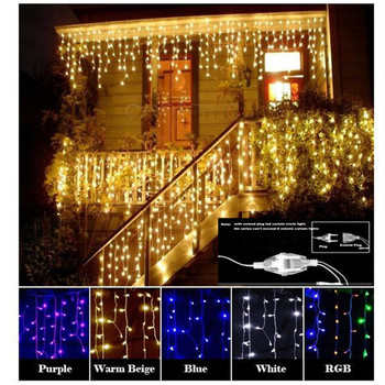 Christmas Garland LED Curtain Icicle String Light 220V 4.5m 100Leds Indoor Drop LED Party Garden Stage Outdoor Decorative Light 1