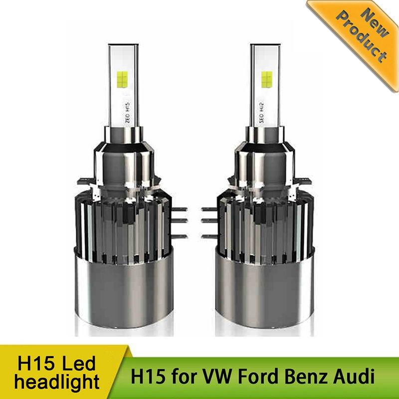 2x H15 Wireless Led Car Headlight Lamp Conversion Kit Driving Bulb DRL For Ford Edge Ford Explorer VW Audi BMW Golf 7 Error Free free ship turbo k03 29 53039700029 53039880029 058145703j n058145703c for audi a4 a6 vw passat 1 8t amg awm atw aug bfb aeb 1 8l