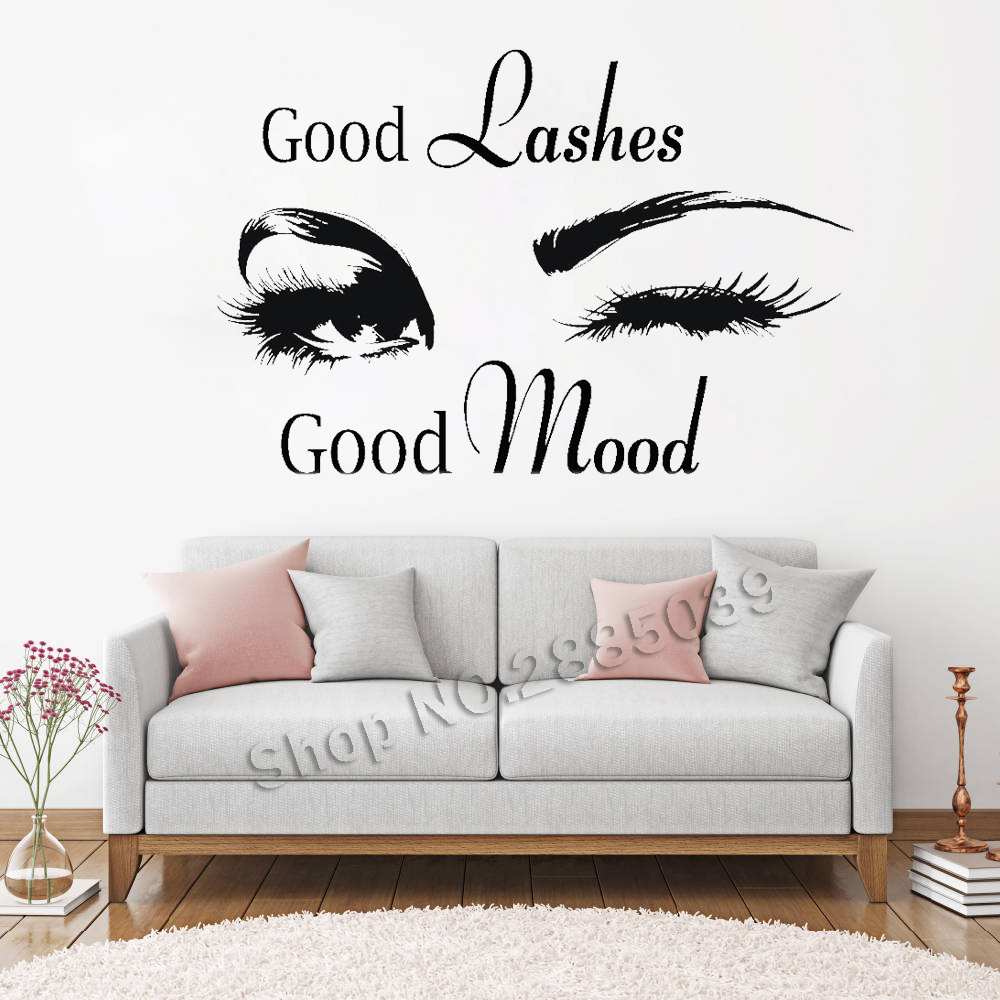 Buenas pestañas salón de belleza de la pared pegatinas etiqueta ojo pestañas arte chica habitación pared decoración moderna tienda de belleza Mural de vinilo LC358