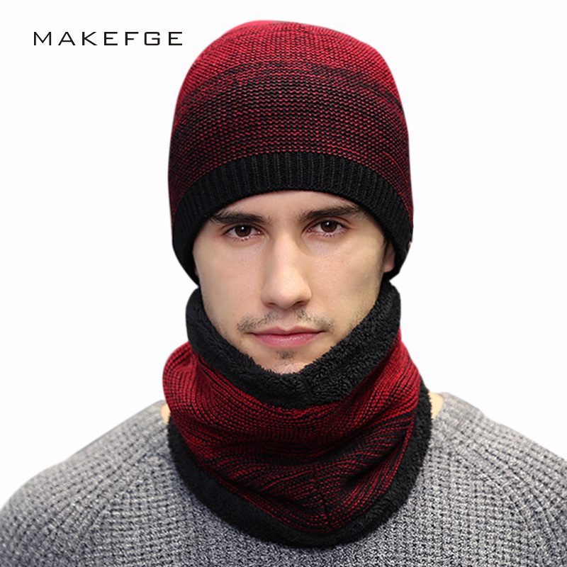 Autumn And Winter New Men's Knitted Cotton Hats Warm And Comfortable Plus Velvet Thick Caps Bib Two-piece Mask Beanie Gorros Ski