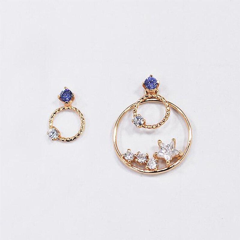 Ruifan Asymmetrical Round CZ Cubic Zircon Stud Earrings for Women 14K Gold Color 925 Silver Earrings Stone Fine Jewelry YEA114 asymmetrical drawstring color block hoodie