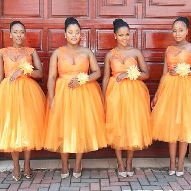 Orange Bridesmaid Dress Tea Length Hot Dresses Ball Gowns One Shoulder African Fashion