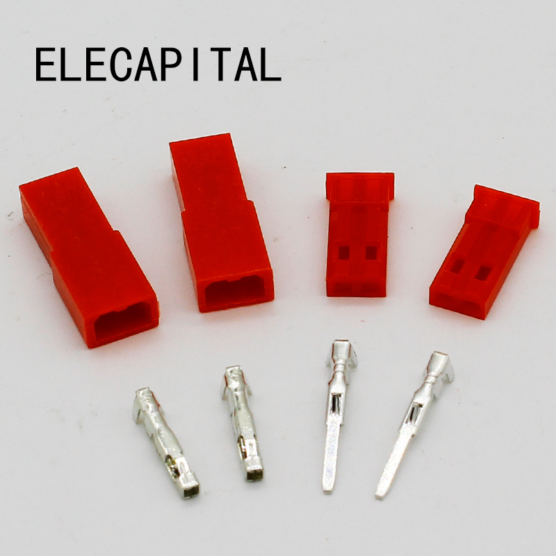 Free Shipping,50set/lot JST Connector Plug 2pin Female, Male And Crimps RC Battery Connector For Auto,E-Bike,boat,LCD,LED Ect