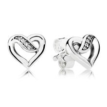 Stylish Authentic 925 Sterling Silver Branded Earrings For Women Ribbons Of Love Earring Studs Fine Europe Jewelry Lady Gift(China)
