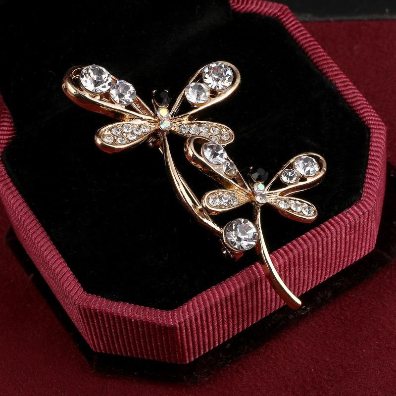 DDLLI Enamel Lapel Pin Brooch Pins Dragonfly Broaches and Pins for Women Accessories for Women Animal Alloy Plating Diamond Broches for Women