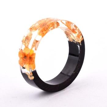Handmade Flowers Wood Resin Ring24