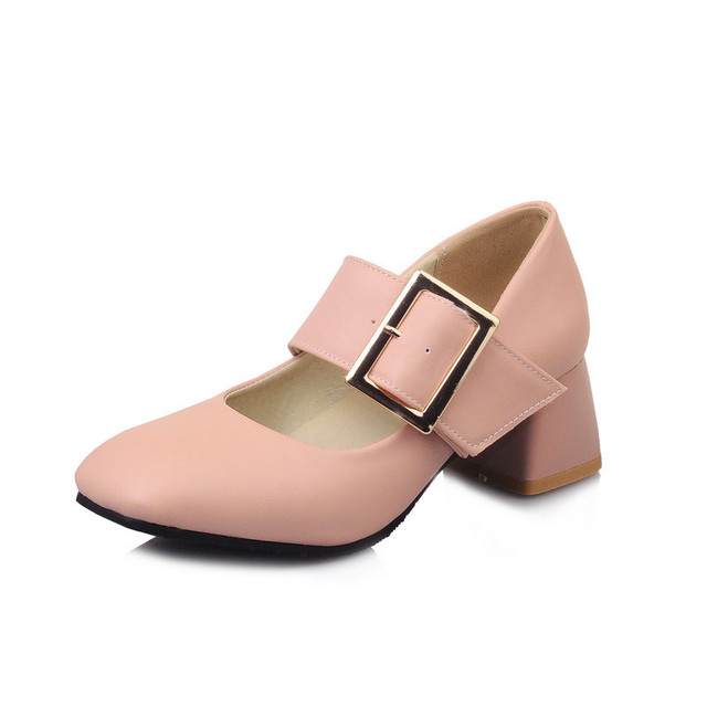 New Style Women Thick High Heel Pumps Square Toe Ankle Broadband Buckle Shoes Womans Ladies Casual Punk Shoes High Heeled Shoes