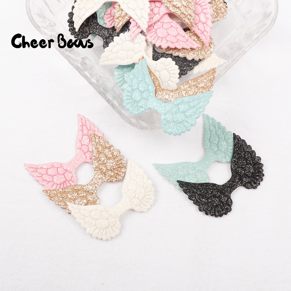 10pcs Glitter Patches Angel Wing Powders Appliques Colorful Cupid Fairy for DIY Clothes Hat Headwear Decor