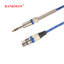 Rankman 6.35 to XLR Microphone Cable Cord XLR Female to 6.35 Jack Male Audio Cable for Microphone Speaker 1 2 3 5 10m microphone wire cord xlr female to jack 6 35 6 5mm male plug audio lead microphones cable nd998