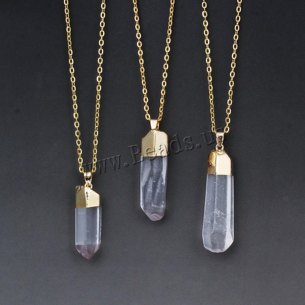 edging long natural gold plated pendant necklace crystal spike triangle