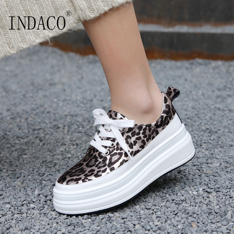 2019 Spring Leopard Sneakers Women Leather Casual Shoes Platform Fashion Sneakers 5 5cm