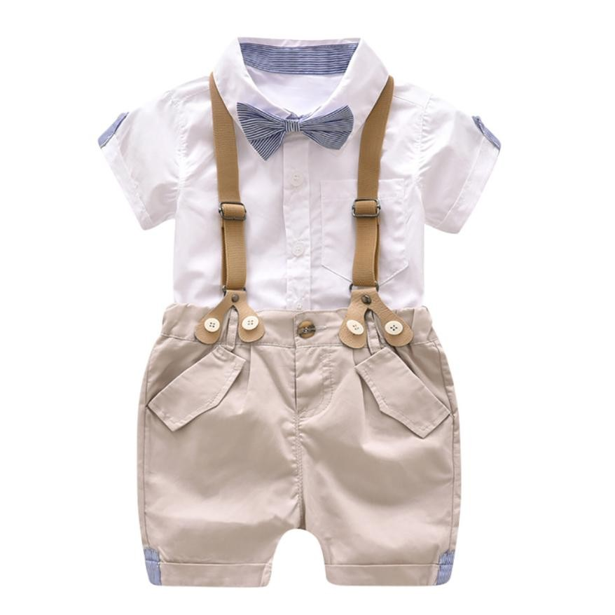 Toddler Boys Clothing Set Summer Baby Boys Formal Gentleman Bowtie Short Sleeve Shirt+Suspenders Shorts Set Kids Clothes Suits baby boys kids formal suits summer boy gentleman clothes set short sleeve shirt gray overalls trousers outfit for children