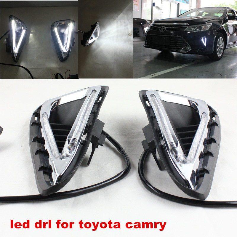 Free Shipping!!2016 NEW Camry LED Daytime Running Light 100%Waterproof fog lamp DRL fit for Toyota Camry 2014-2015 Year 2014 2015 year camry v55 led bumper light for toyota v1
