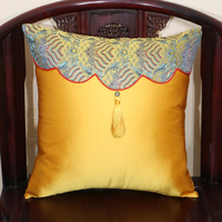 Tassel Patchwork Vintage Chinese Cushion Cover Decoration for Sofa Chair Christmas Case Pillow Silk Cover High End Back Cushion