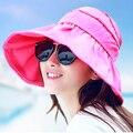 Sombreros de verano para mujeres 2016 moda plegable de ala ancha sombrero de sol mujeres exterior protección UV estilo coreano de la playa Chapeu Feminino 1799