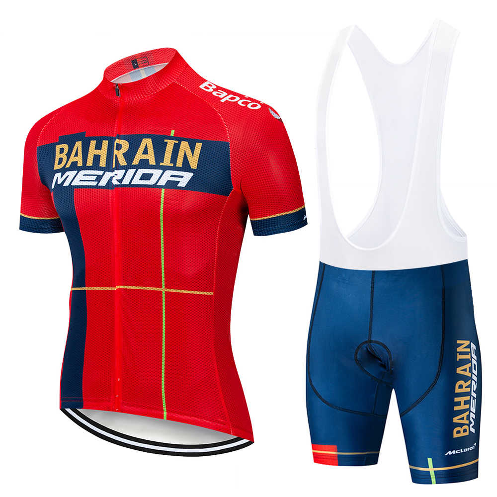 New 2019 TEAM BAHRAIN Cycling team jersey 12D bike pants suit mens summer quick dry pro BICYCLING shirts Maillot Culotte wear