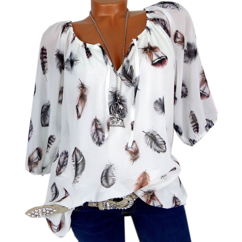 5XL Plus Large Size Women's Blouses Summer Tops New Leisure Blouse White Loose Feather Print V Neck Half Sleeve Shirts Blusas(China)