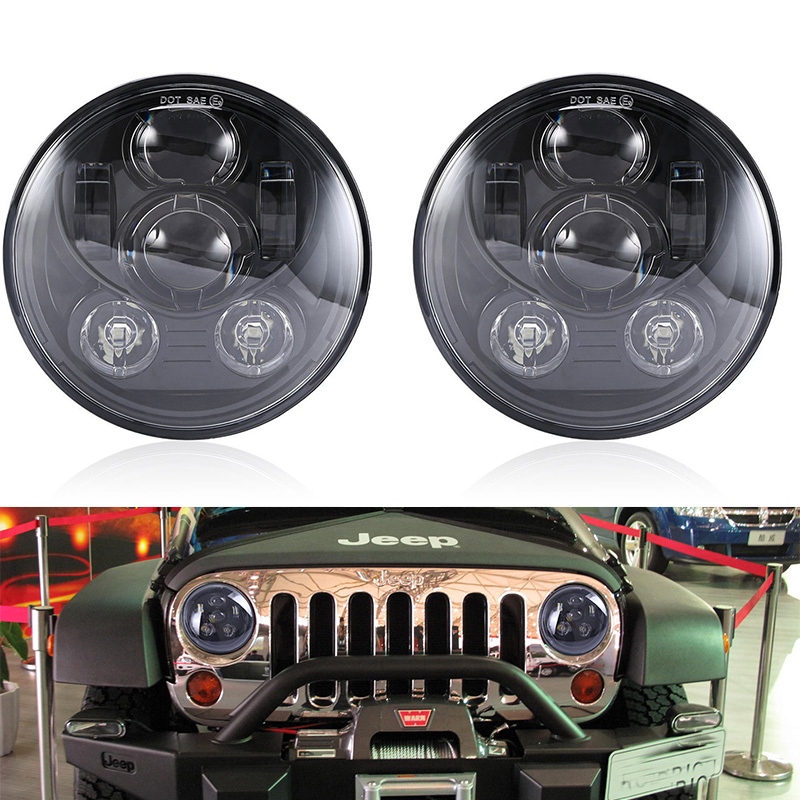 New Design Black Projector Headlight 7'' inch headlight Hi/Lo Beam 45W LED Car headlamp for 07-15 Jeep Wrangler JK CJ Offroad 2pcs new design 7inch 78w hi lo beam headlamp 7 led headlight for wrangler round 78w led headlights with drl