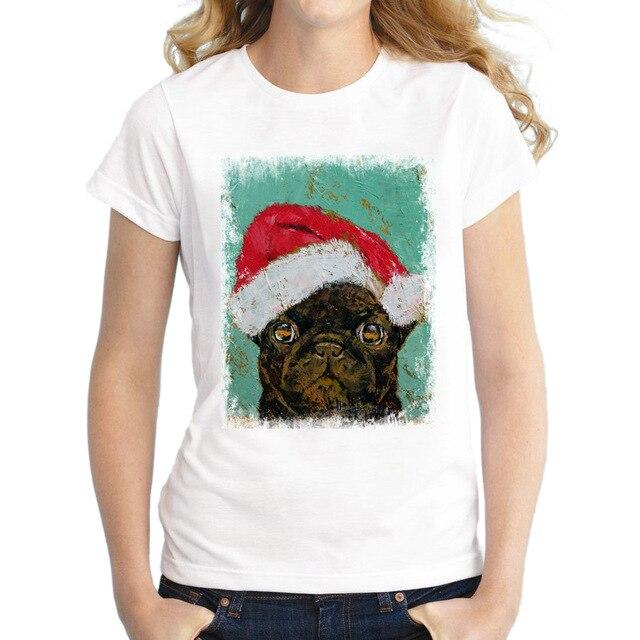 2017 Funny Women Stanta Pug T Shirts Christmas Panda Tops Novelty Fashion T-Shirt Short Sleeve Vintage Printing Tee
