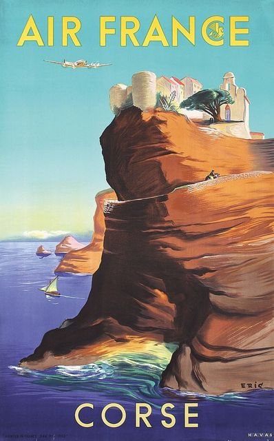 holiday at corse by air france retro vintage classic travel posters kraft poster canvas painting wall sticker home decoration