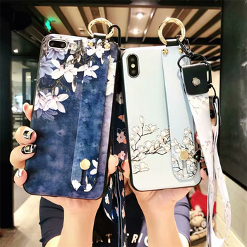 Wrist Strap Phone Cases For iPhone 7 Elegant White Flower  Phone Case For iPhone 6 S 8 Plus X Matte Soft TPU Silicone Back Cover iPhone