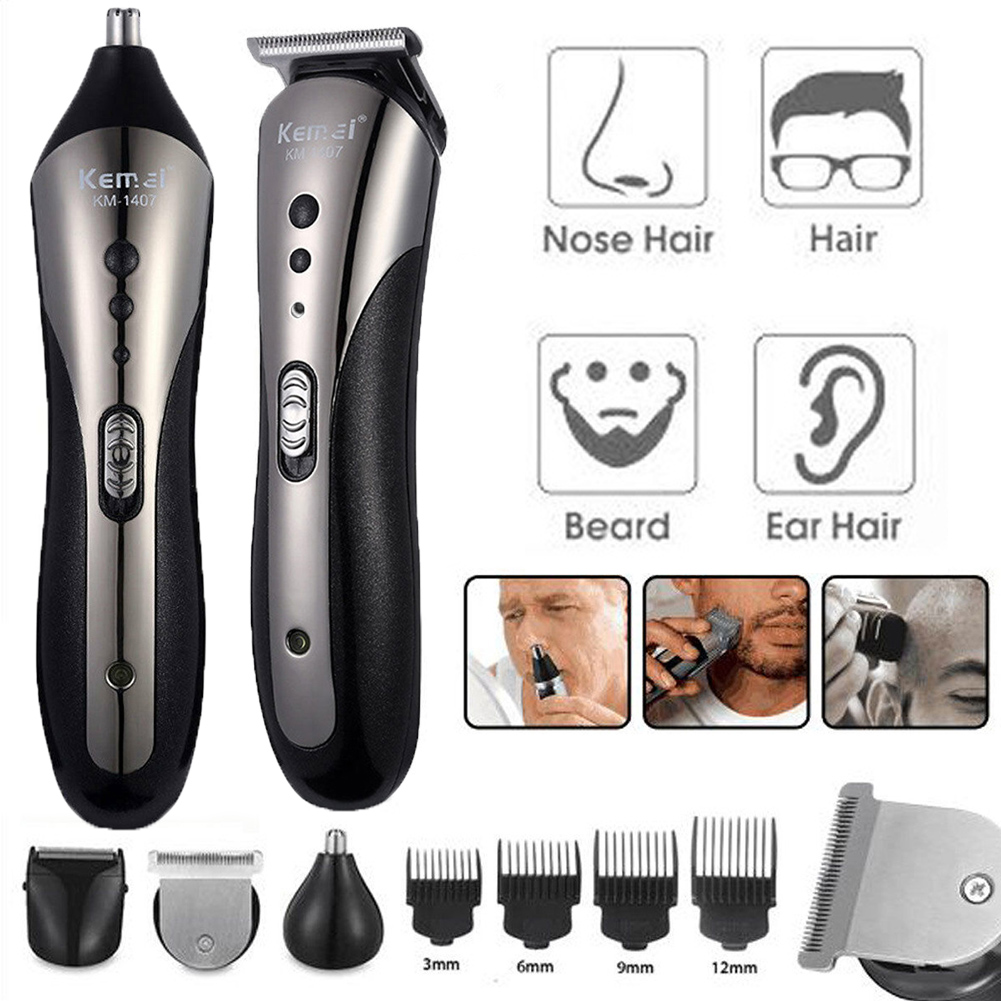 Kemei 5  In 1 Rechargeable  Hair Trimmer Waterproof Wireless Electric Razor Hair Clipper Nose  Ear Shaver Tool