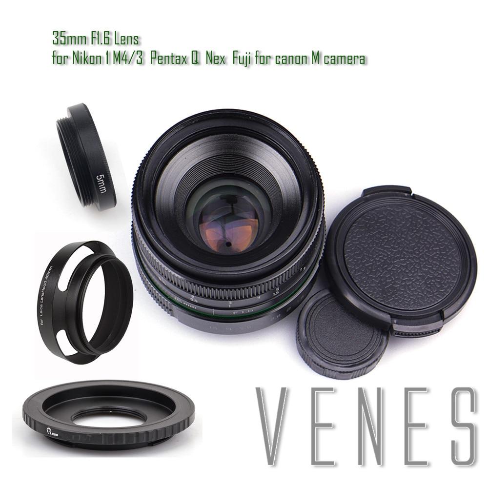 Pixco 35mm f/1.6 APS-C Lens+ Lens Hood+ Macro Ring +16mm C Mount adapter for Nikon 1 Micro 4/3 Pentax Q Nex Fuji for EOSM camera объектив lensbaby velvet 56 mm f 1 6 1 2 macro black for pentax k 83010 lbv56bp