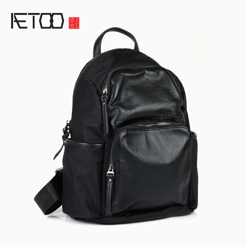 AETOO New Nylon with leather backpack first layer of leather shoulder bag female Oxford cloth leisure travel small backpack bag aetoo shoulder bag female leather bag wild first layer of leather bag small backpack
