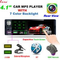 LaBo-radio Multimedia con Bluetooth para coche, radio con reproductor, 2 din, 4,1 pulgadas, HD, estéreo, MP5, pantalla táctil, USB, SD, FM