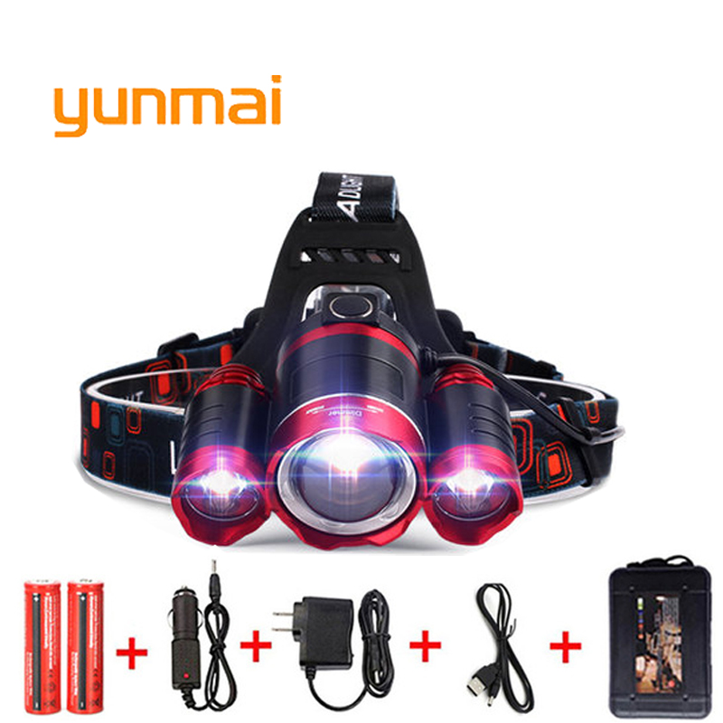 цена yunmai USB Power Led Headlight Headlamp 10000 lumen NEW xml t6+2Q5 Head Lamp Torch 18650 Battery Hunting Fishing Light