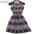 Летнее Платье Новый Элегантный Midi Платье Женщины Цветочные Печатный Шифоновое Платье Халат Высокой Талией Женщины Летние Платья Плюс Размер Одежды