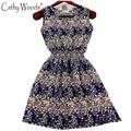Vestido de verano Nuevo Elegante Midi Vestido de Las Mujeres Impreso Floral de La Gasa Vestido del Traje de la Alta Cintura de Las Mujeres Vestidos de Verano Ropa de Talla grande