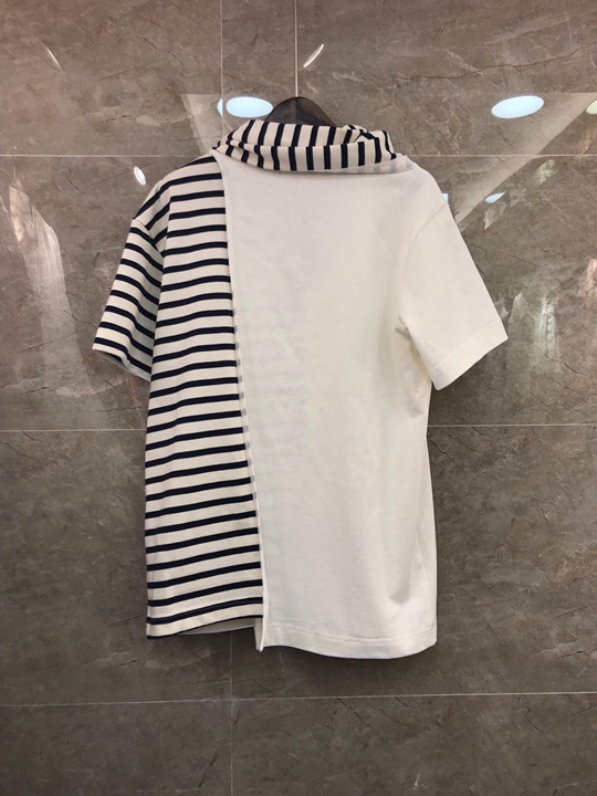 2019 Nouvelle Avec Femmes De Vêtements Rayures Mode Court Sleeves302 À Épissage Joker Ruban Chemise rpqwr