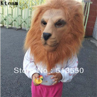 Hot Halloween Party Cosplay Funny Animal Lion Head Mask full head Adult Latex Lion Mask Costume Halloween Scary mask with hair