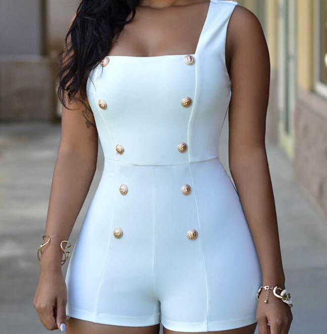 Fashion 2020 casual regular Gold Buttons rompers womens short jumpsuit sexy sleeveless zip one piece white bodysuits black S-XL