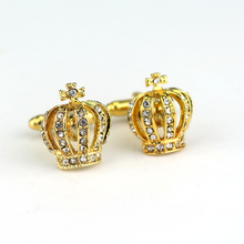 dongsheng New Design Crown Shape Men's Cuff Links Crystal Mens Shirts Fasten Cuff Luxury Accessories For Men Jewelry -40